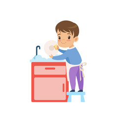 cute boy washing dishes kid helping with home vector image
