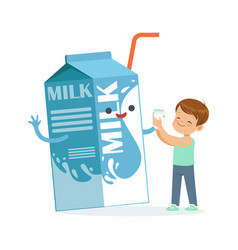 Cute little boy and funny milk carton box with vector