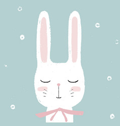 cute little white rabbit bunny hand drawn vector image