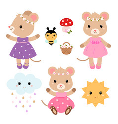 cute mouses and design elements flat vector image