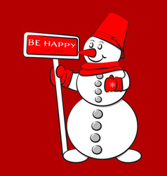 cute snowman for greeting card vector image