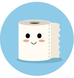 cute toilet paper cartoon icon vector image