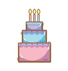 Delicious cake happy birthday celebration vector
