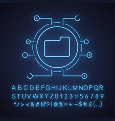 digital data storage neon light icon vector image