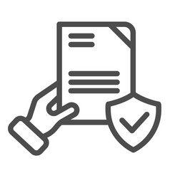Document verified in hand line icon checked vector
