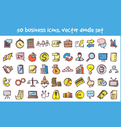 doodle business icons set vector image