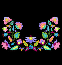 Fantasy flowers embroidery symmetric pattern vector