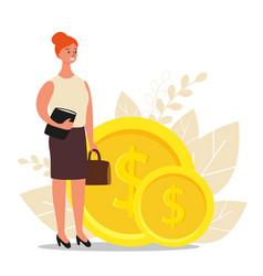 financial advisor businesswoman is standing near vector image