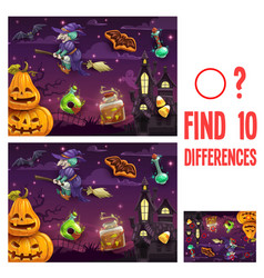 Find differences kids halloween game or riddle vector
