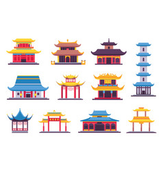 flat chinese and japanese buildings ancient vector image