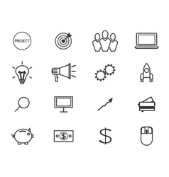 Flat line icons and logo set of crowdfunding vector