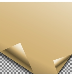 Folded gold foil blank note planner sticker vector image