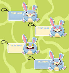 Four cute cartoon Rabbits stickers vector image