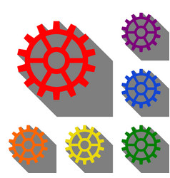 gear sign set of red orange yellow green blue vector image
