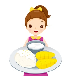 Girl Showing Mango With Sticky Rice On Dish vector