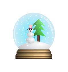 glass snow globe souvenir snowflakes chistmas vector image