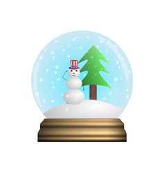 Glass snow globe souvenir snowflakes christmas vector