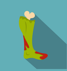 green foot of zombie in the blood icon flat style vector image