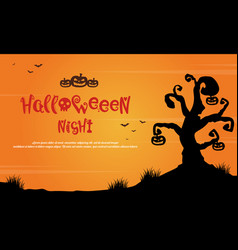 halloween night with tree scary landscape vector image