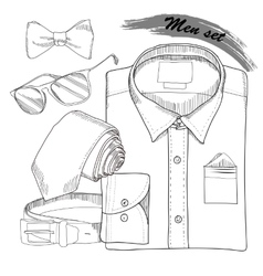 Hand drawn doodle coordination shirt tie vector