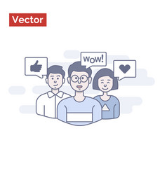 Happy group people say wow and like idea vector