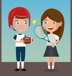 happy kids couple playing sports characters vector image
