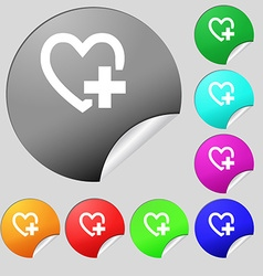 Heart sign icon Love symbol Set of eight multi vector image