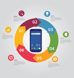 infographic template phone technology connect vector image