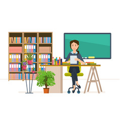 Interior of room for teacher workplace vector