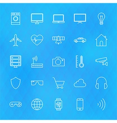 Internet of Things Line Icons Set over Polygonal vector