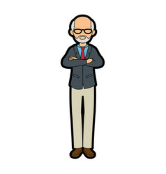 isolated standing old man vector image