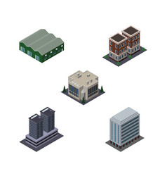 isometric urban set of warehouse tower house and vector image