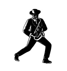 Jazz musician playing sax woodcut vector