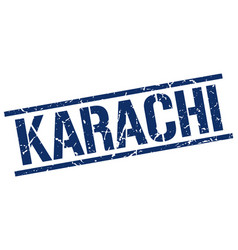 Karachi blue square stamp vector