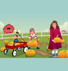 Kids on a pumpkin patch trip vector