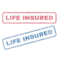 Life insured textile stamps vector