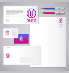 Magnet logo m letter identity business card vector