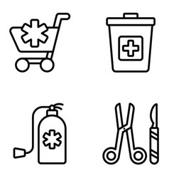 Medical accessories line icons pack vector