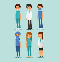 medical people doctors standing with uniform vector image
