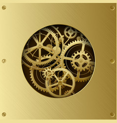 Metallic gear wheels in the brass plate with cut vector