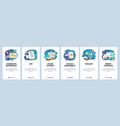 mobile app onboarding screens school education vector image