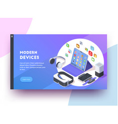 modern devices website banner vector image