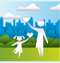 Mom and daughter hearts family protection vector