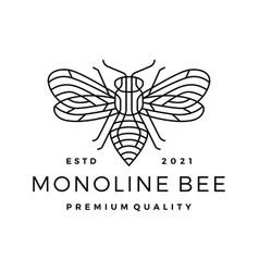 Monoline bee line outline line art logo icon vector
