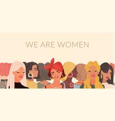 multinational female portraits international vector image