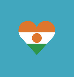 Niger flag icon in a heart shape in flat design vector