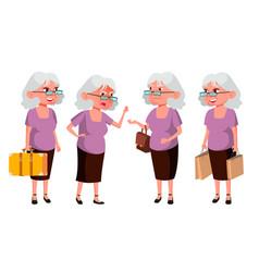 old woman poses set elderly people senior vector image
