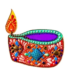 Original painting with jewels and pearls of diwali vector