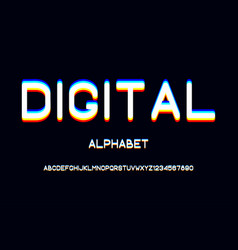overlap glitch font rounded color alphabet with vector image