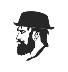 Portrait bearded hipster face wearing vector